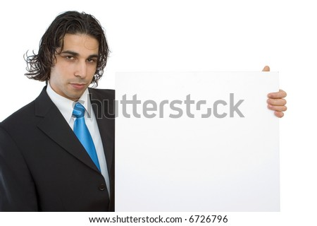 young confident businessman with blank board background - stock photo