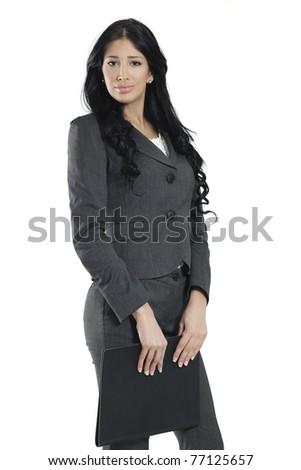young confident businesswoman holding leather portfolio - stock photo