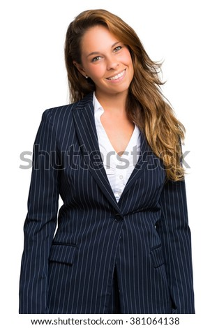 Young confident businesswoman portrait isolated on white - stock photo