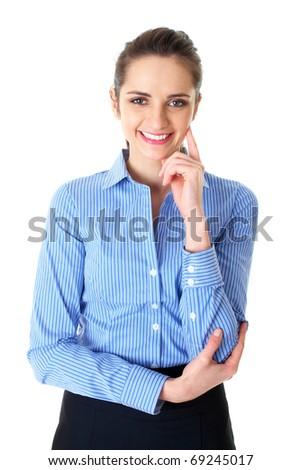 young confident businesswoman portrait, studio shoot isolated on white - stock photo