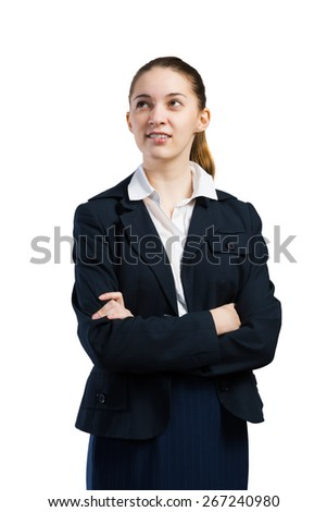 Young confident businesswoman with arms on chest isolated on white - stock photo