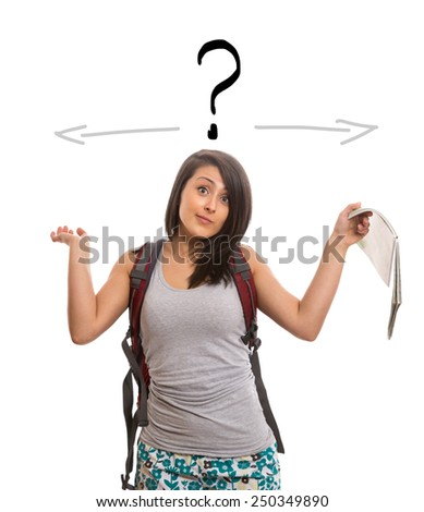 Young confused woman - stock photo