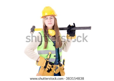 young construction worker isolated in white