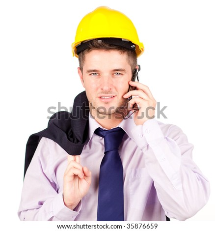 Young Construction worker talking on the phone