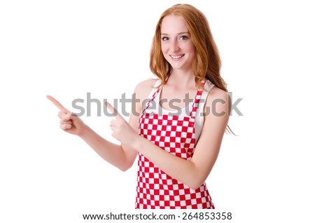 Young cook female pointing isolated on white - stock photo