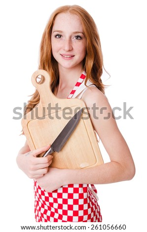 Young cook female with plank for cutting isolated on white - stock photo