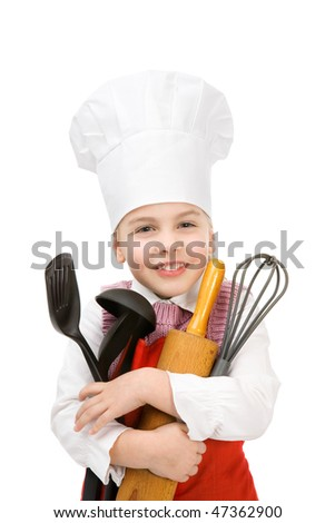 young cook with cook spoon and rolling spin - stock photo