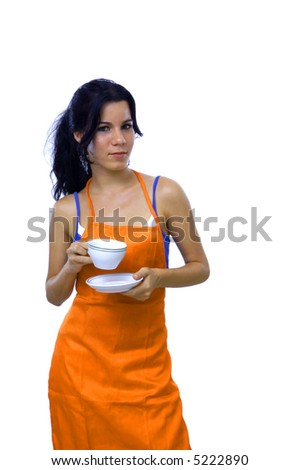 Young cook woman on a coffee break - isolated over white