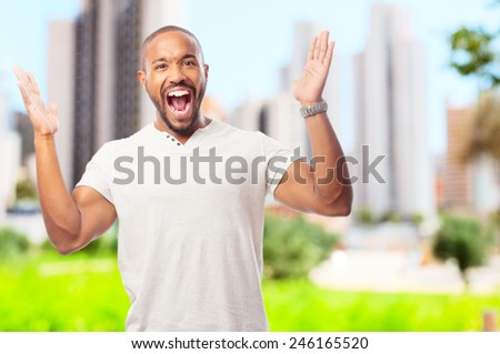 young cool black man angry gesture - stock photo