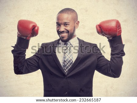 young cool black man businessman boxing