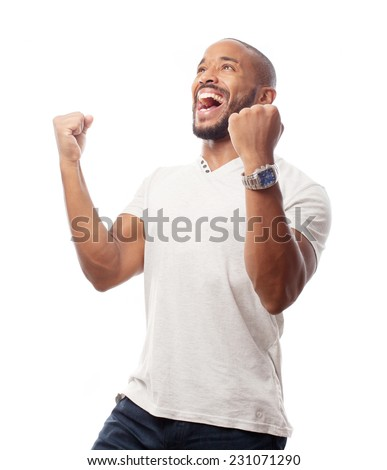 young cool black man celebratin sign - stock photo