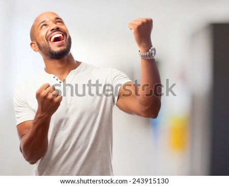young cool black man celebrating sign - stock photo