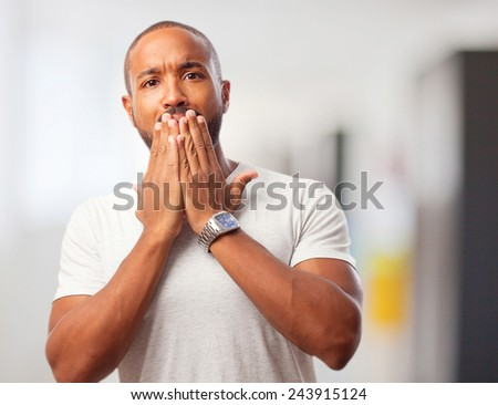 young cool black man shocked - stock photo