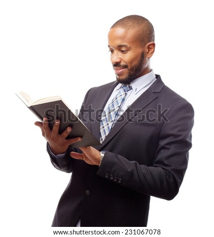 young cool black man with a book
