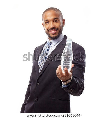 young cool black man with watwer bottle - stock photo