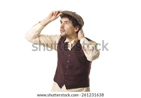 Young Cool Retro Man. - stock photo