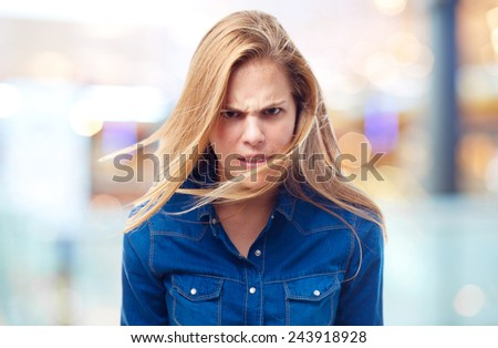 young cool woman angry pose - stock photo