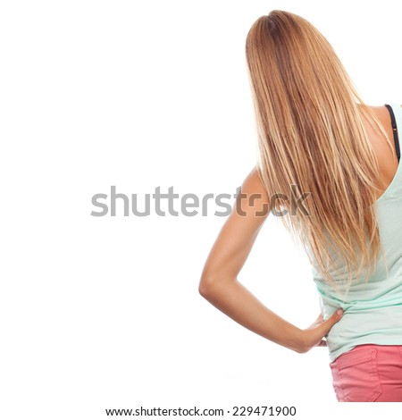 young cool woman back  - stock photo
