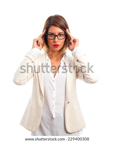 young cool woman concentrated - stock photo