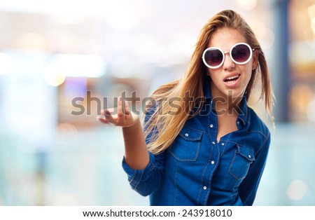 young cool woman confused - stock photo
