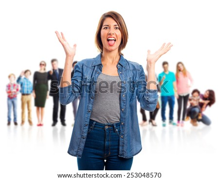 young cool woman confused sign - stock photo