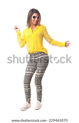 young cool woman dancing - stock photo