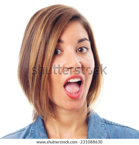 young cool woman open mouth
