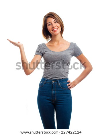 young cool woman show sign - stock photo