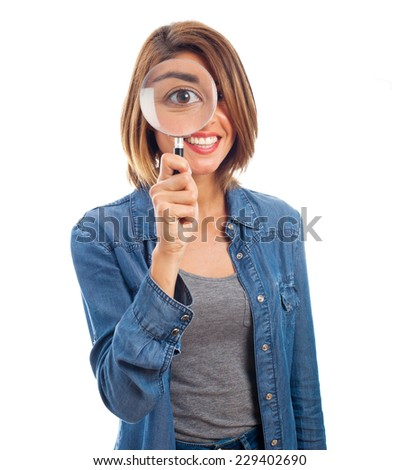 young cool woman with a magnifier