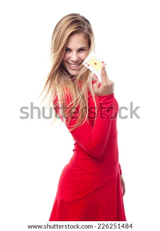 young cool woman with an ace - stock photo