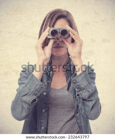 young cool woman with bonoculars