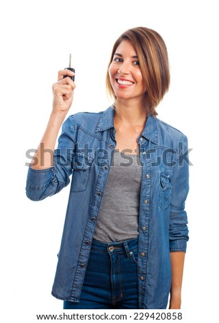 young cool woman with car key - stock photo