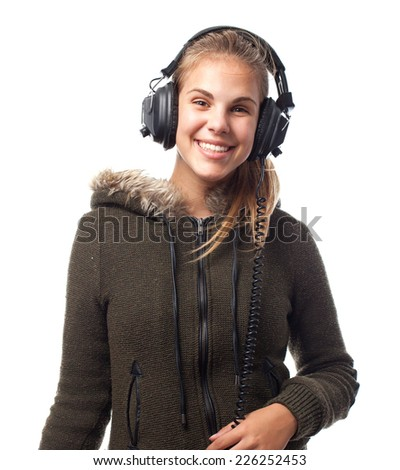 young cool woman with headphones