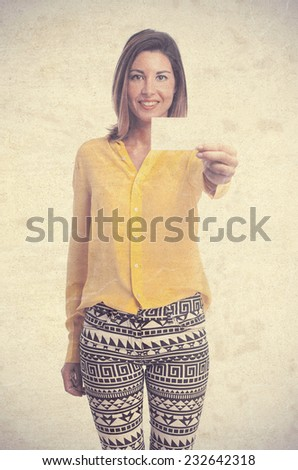 young cool woman with name card