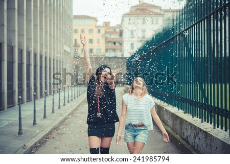 young couple beautiful women girls autumn outdoor - stock photo