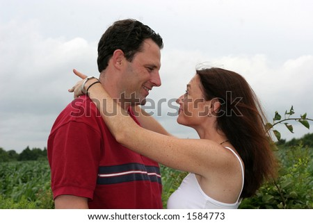 young couple communicating - stock photo