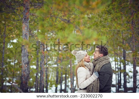 Young couple dating in winter park - stock photo
