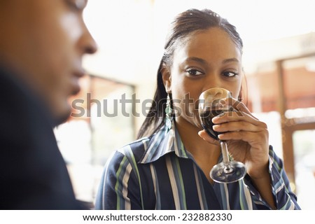 Young Couple Drinking Wine - stock photo