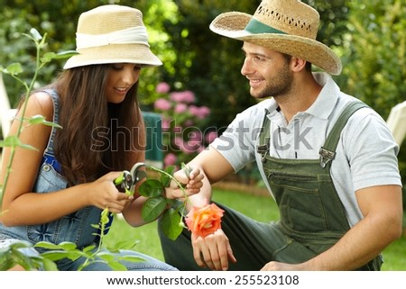 Young couple gardening, woman clipping rose by pruning scissors. - stock photo