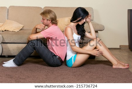 Young couple had a quarrel. Family conflict - stock photo
