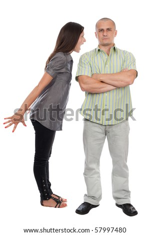 Young couple having a domestic fight, isolated on white background - stock photo