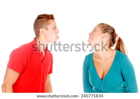 young couple having a fight isolated in white - stock photo