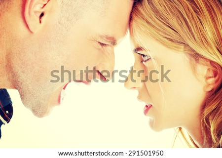 Young couple having an argue - stock photo