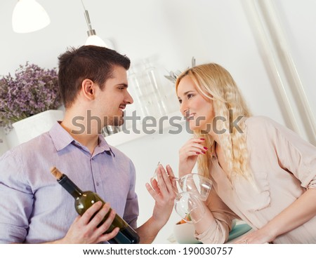 Young couple having romantic time together.