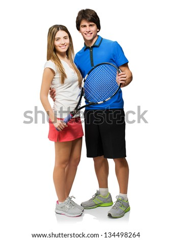 Young Couple Holding Racket Isolated On White Background - stock photo