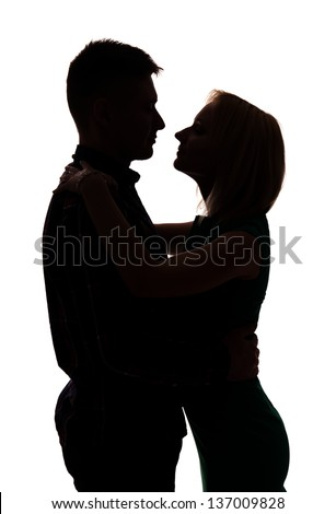 Young couple hug silhouette  isolated on white background - stock photo