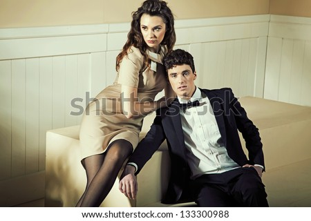 Young couple hugging - stock photo