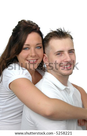 Young couple hugging isolated on white - stock photo