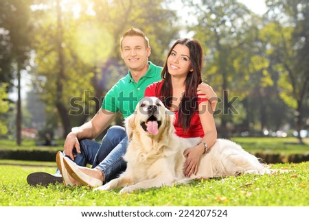 Young couple in a park with a dog on a sunny summer day - stock photo