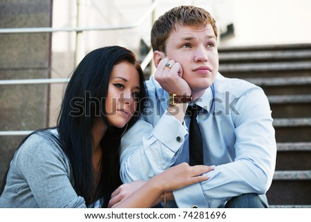 Young couple in depression - stock photo